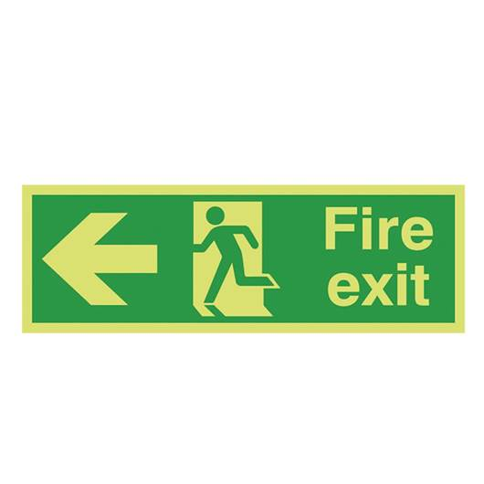 Picture of Photoluminescent Fire Exit Left Arrow Sign